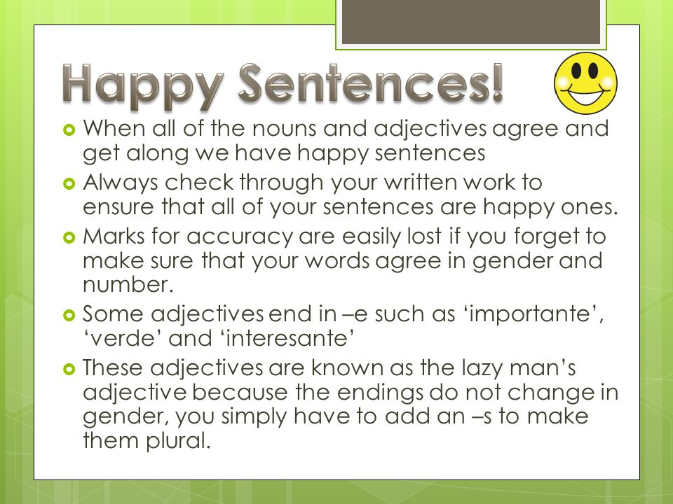 When all of the nouns and adjectives agree and get along we have happy sentences Always check through your written work to ensure that all of your sen