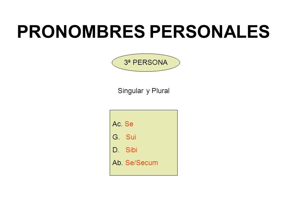 PRONOMBRES PERSONALES Ac. Se G. Sui D. Sibi Ab. Se/Secum 3ª PERSONA Singular y Plural