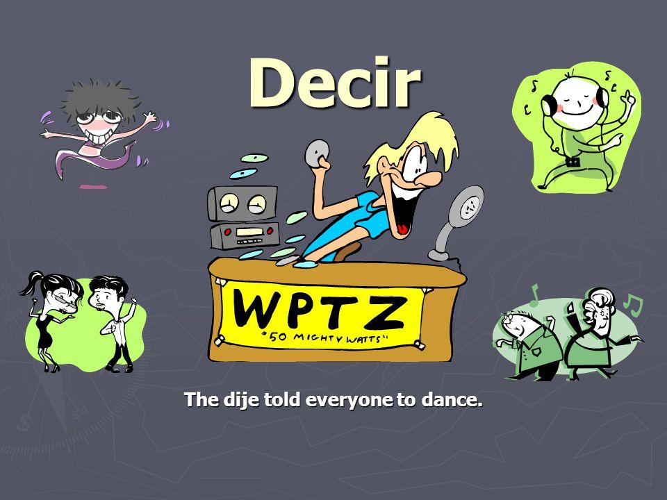 DECIR – to say, to tell stem – dij-
