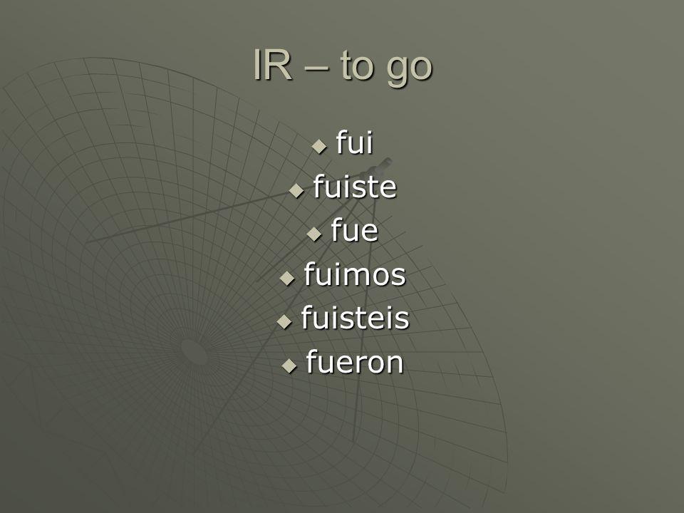 Mnemonics en español Clues for remembering the irregular preterite stems. La clase de español II