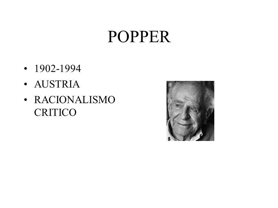 POPPER 1902-1994 AUSTRIA RACIONALISMO CRITICO