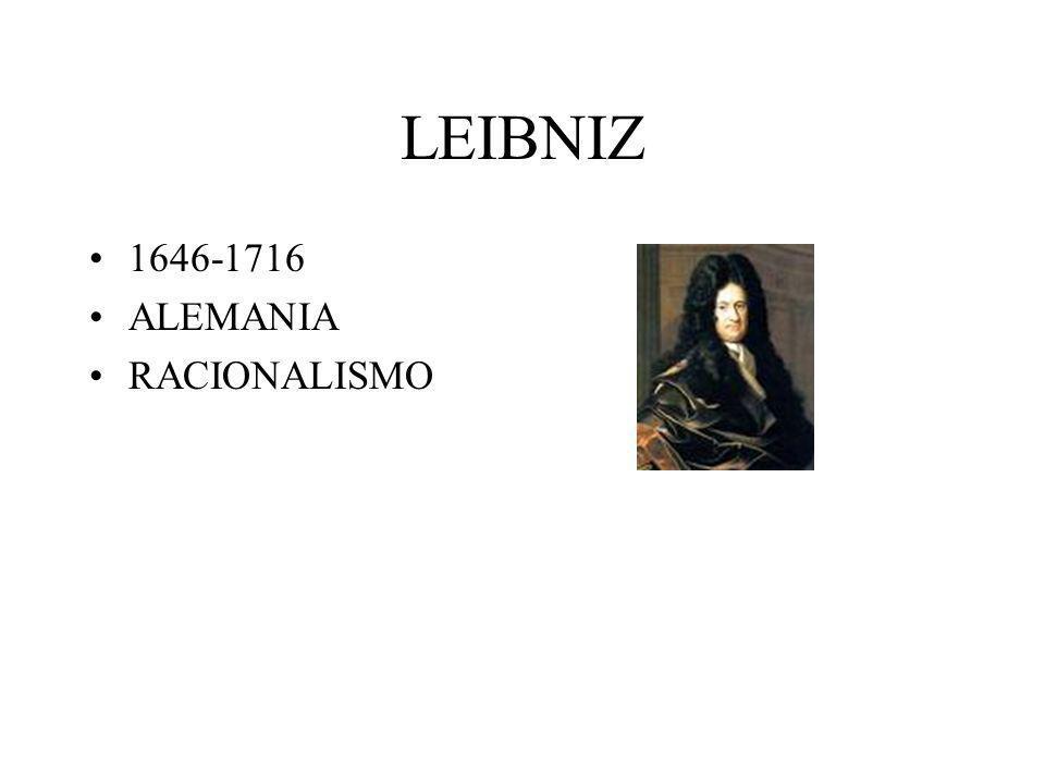 LEIBNIZ 1646-1716 ALEMANIA RACIONALISMO