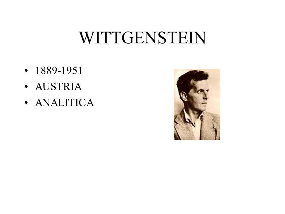 WITTGENSTEIN 1889-1951 AUSTRIA ANALITICA