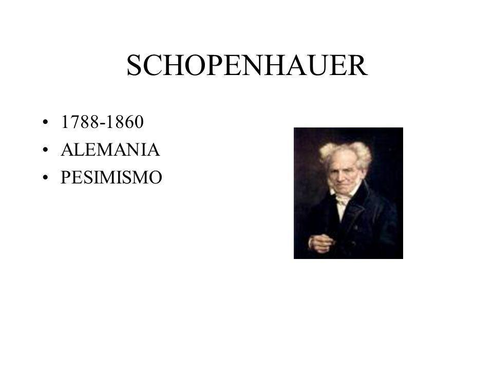 SCHOPENHAUER 1788-1860 ALEMANIA PESIMISMO