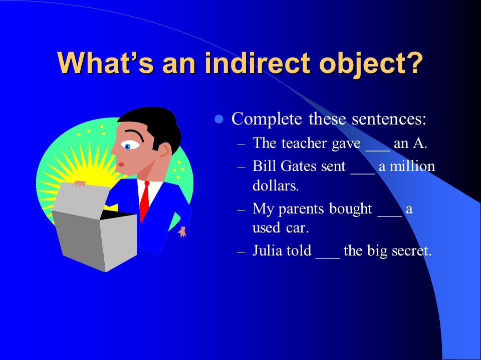 Indirect Object Pronouns Weve seen three types of pronouns so far: – Subject: yo, tú, él… – Reflexive: me, te, se… – Direct object: me, te, lo, la… In