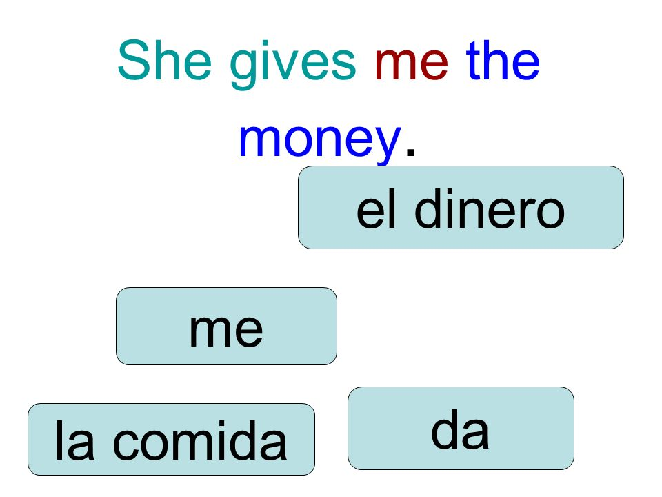 She gives me the money. me da la comida el dinero