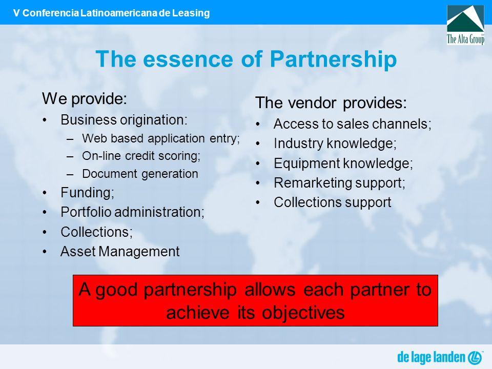 V Conferencia Latinoamericana de Leasing The essence of Partnership We provide: Business origination: –Web based application entry; –On-line credit sc