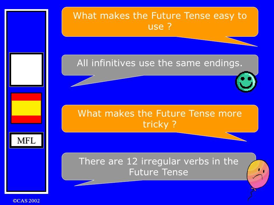 MFL ©CAS 2002 The Future Tense In English: I will play I will be playing The Future Tense is formed by using infinitive + ending hablar beber recibir