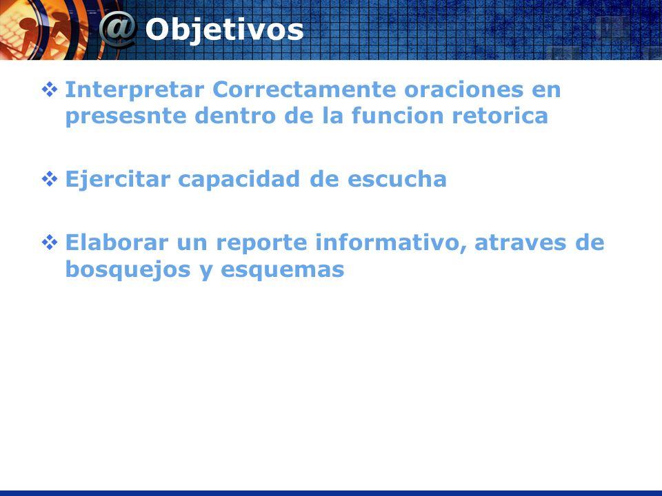 Objetivos Interpretar Correctamente oraciones en presesnte dentro de la funcion retorica Ejercitar capacidad de escucha Elaborar un reporte informativ
