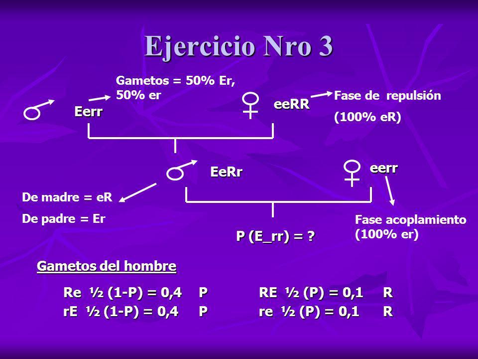 Ejercicio Nro 3 Eerr eeRR EeRr eerr P (E_rr) = ? Fase de repulsión (100% eR) Gametos = 50% Er, 50% er De madre = eR De padre = Er Fase acoplamiento (1