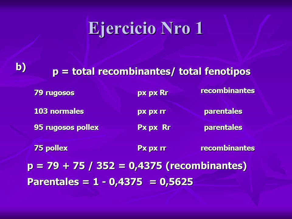 Ejercicio Nro 1 b) p = total recombinantes/ total fenotipos p = 79 + 75 / 352 = 0,4375 (recombinantes) 79 rugosos px px Rr 103 normales px px rr 95 ru