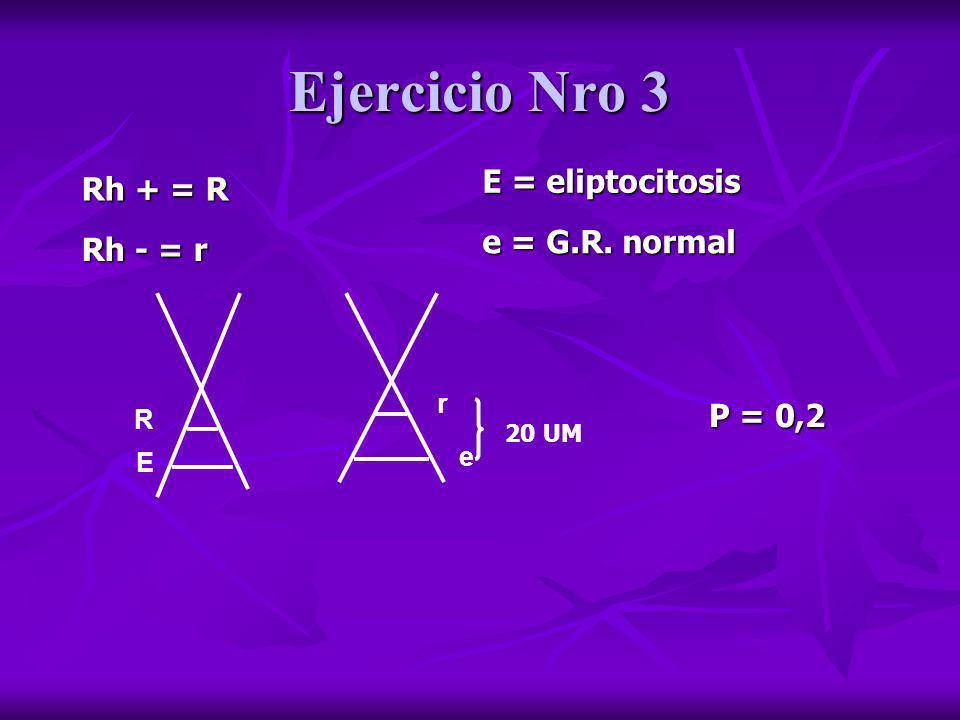 Ejercicio Nro 3 Rh + = R Rh - = r E = eliptocitosis e = G.R. normal R E r e 20 UM P = 0,2