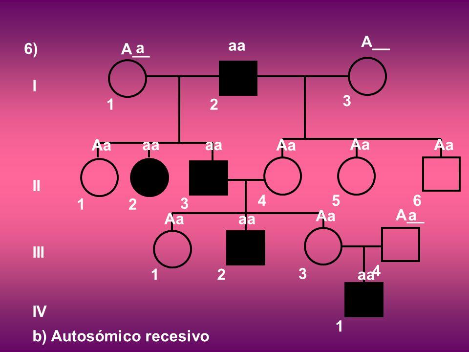 6) I II III IV 12 3 12 3 456 12 3 4 1 b) Autosómico recesivo A__ aa A__ Aa aa Aa aa Aa A__ aa a a