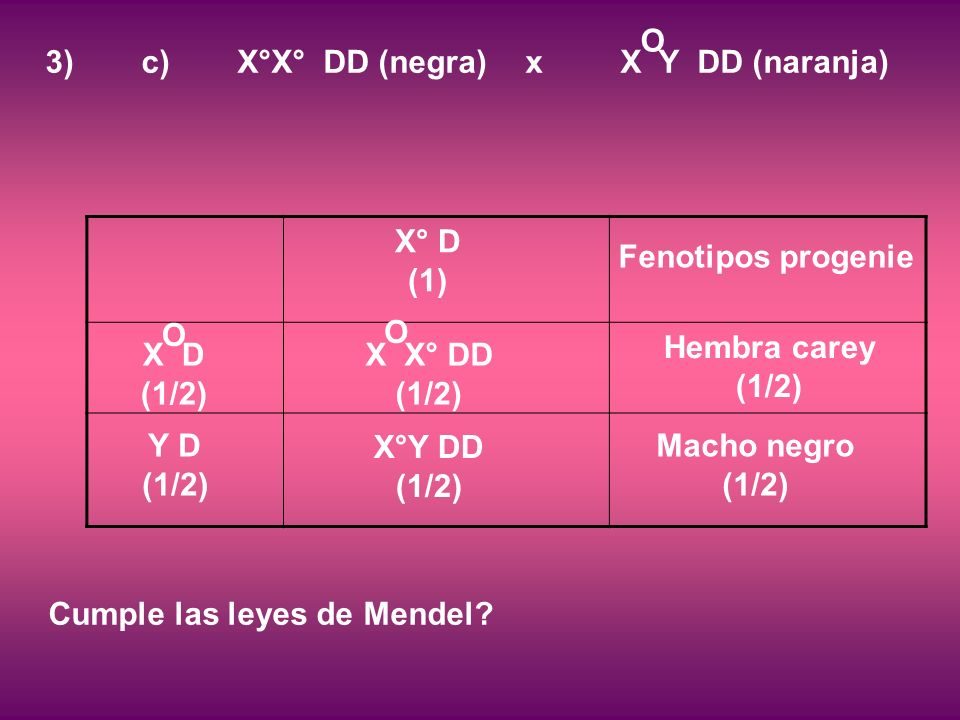 Cumple las leyes de Mendel.