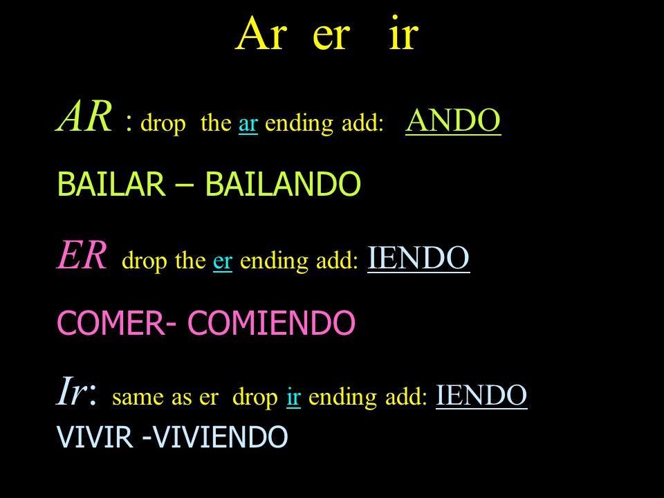 Ar er ir AR : drop the ar ending add: ANDO BAILAR – BAILANDO ER drop the er ending add: IENDO COMER- COMIENDO Ir: same as er drop ir ending add: IENDO VIVIR -VIVIENDO