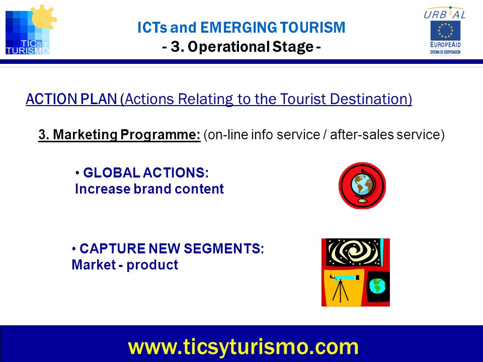 ICTs and EMERGING TOURISM - 3. Operational Stage - ACTION PLAN (Actions Relating to the Tourist Destination) www.ticsyturismo.com 3. Marketing Program