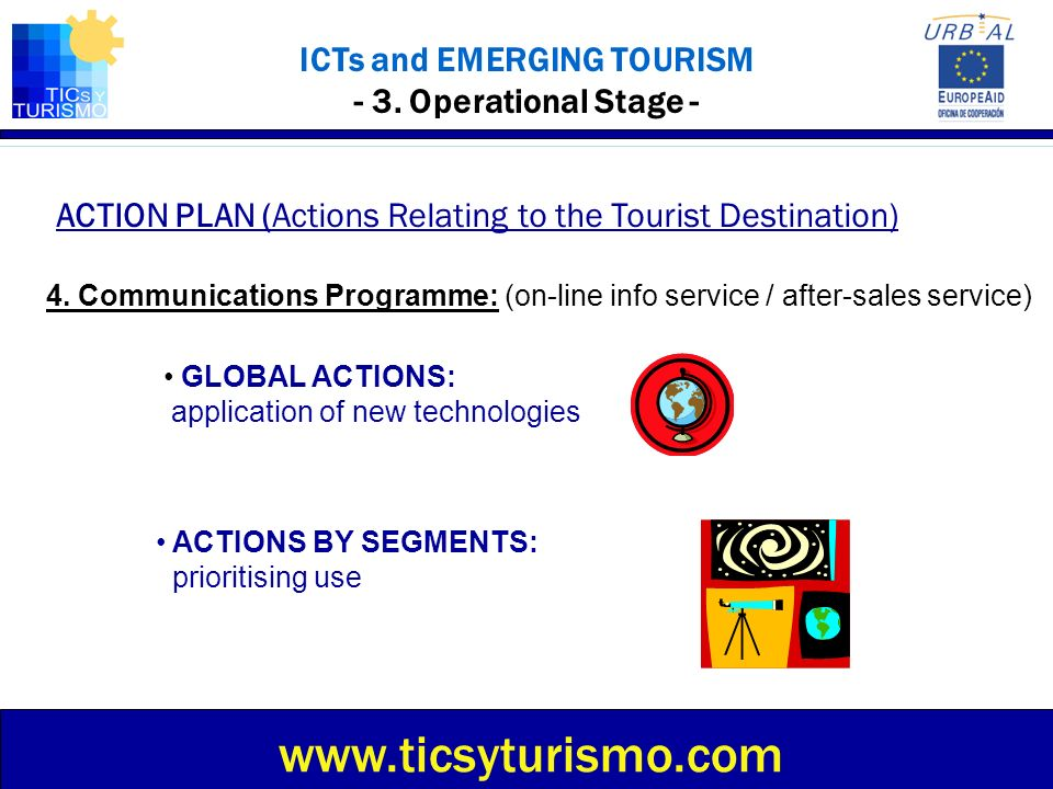 ICTs and EMERGING TOURISM - 3. Operational Stage - ACTION PLAN (Actions Relating to the Tourist Destination) www.ticsyturismo.com 4. Communications Pr