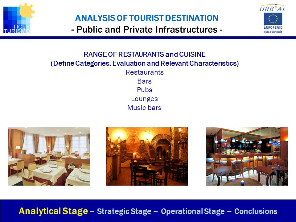 ANALYSIS OF TOURIST DESTINATION - Public and Private Infrastructures - RANGE OF RESTAURANTS and CUISINE (Define Categories, Evaluation and Relevant Ch
