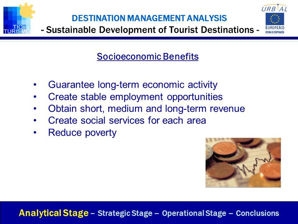DESTINATION MANAGEMENT ANALYSIS - Sustainable Development of Tourist Destinations - Socioeconomic Benefits Analytical Stage – Strategic Stage – Operat
