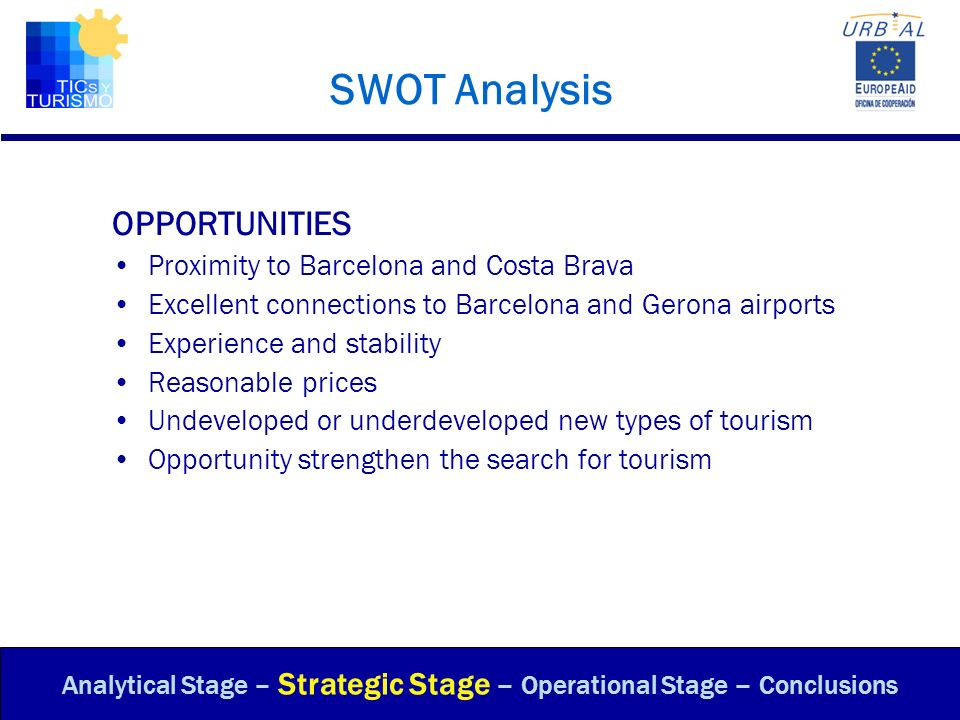 SWOT Analysis OPPORTUNITIES Proximity to Barcelona and Costa Brava Excellent connections to Barcelona and Gerona airports Experience and stability Rea
