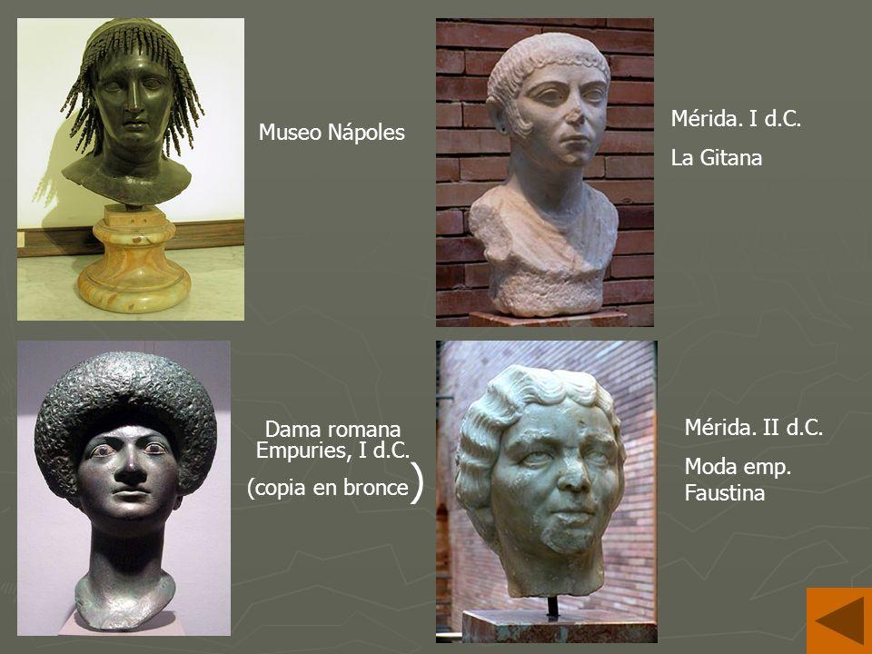 Dama romana Empuries, I d.C.(copia en bronce ) Museo Nápoles Mérida.