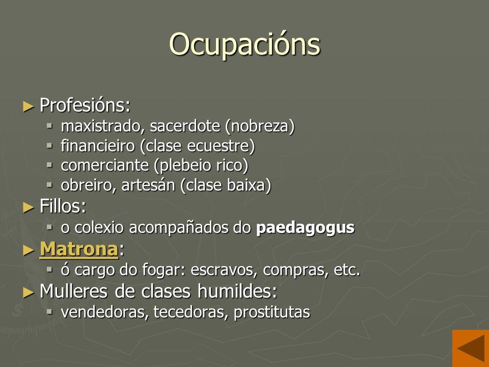 Ocupacións Profesións: Profesións: maxistrado, sacerdote (nobreza) maxistrado, sacerdote (nobreza) financieiro (clase ecuestre) financieiro (clase ecuestre) comerciante (plebeio rico) comerciante (plebeio rico) obreiro, artesán (clase baixa) obreiro, artesán (clase baixa) Fillos: Fillos: o colexio acompañados do paedagogus o colexio acompañados do paedagogus Matrona: Matrona: Matrona ó cargo do fogar: escravos, compras, etc.