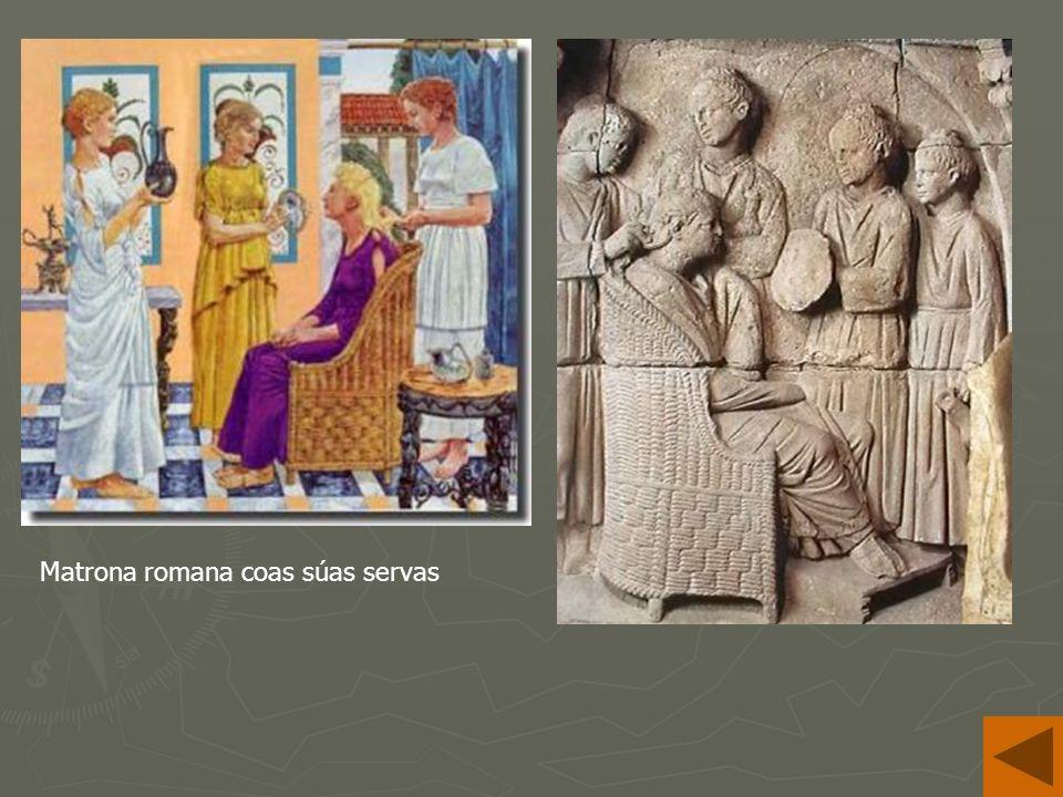 Matrona romana coas súas servas