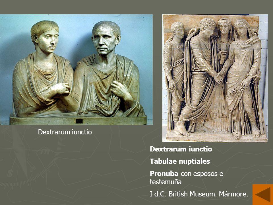 Dextrarum iunctio Tabulae nuptiales Pronuba con esposos e testemuña I d.C. British Museum. Mármore.