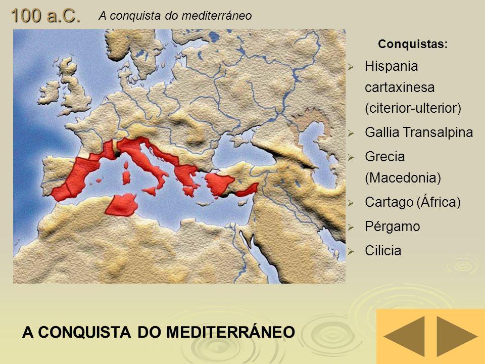 100 a.C. A conquista do mediterráneo A CONQUISTA DO MEDITERRÁNEO Conquistas: Hispania cartaxinesa (citerior-ulterior) Gallia Transalpina Grecia (Maced