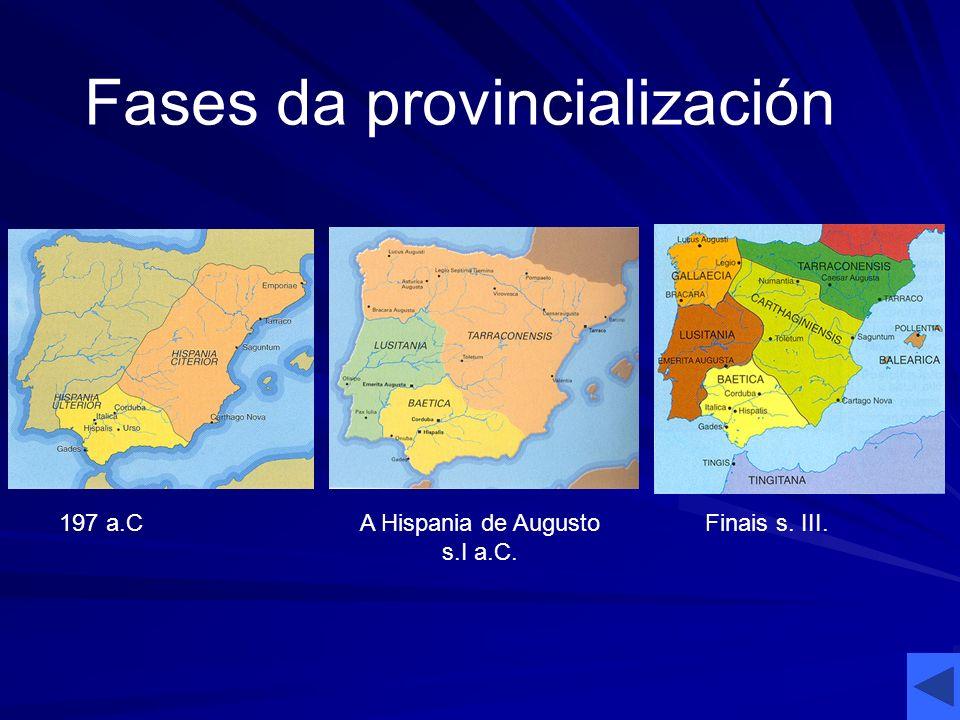 197 a.CA Hispania de Augusto s.I a.C. Finais s. III. Fases da provincialización