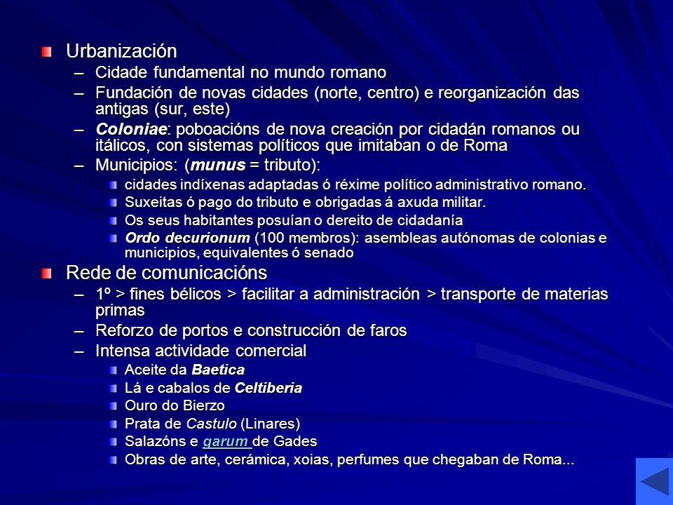 Urbanización –Cidade fundamental no mundo romano –Fundación de novas cidades (norte, centro) e reorganización das antigas (sur, este) –Coloniae: poboa