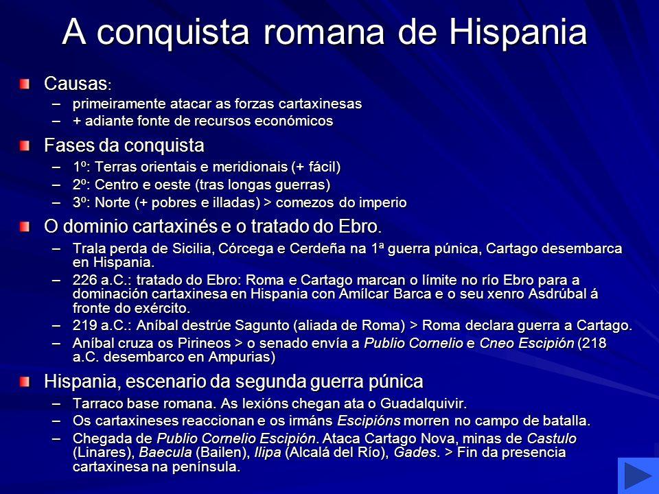 A conquista romana de Hispania Causas : –primeiramente atacar as forzas cartaxinesas –+ adiante fonte de recursos económicos Fases da conquista –1º: T