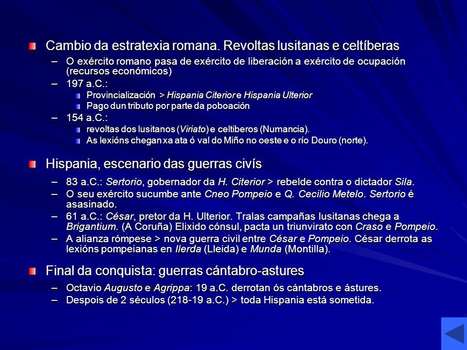 Cambio da estratexia romana. Revoltas lusitanas e celtíberas –O exército romano pasa de exército de liberación a exército de ocupación (recursos econó