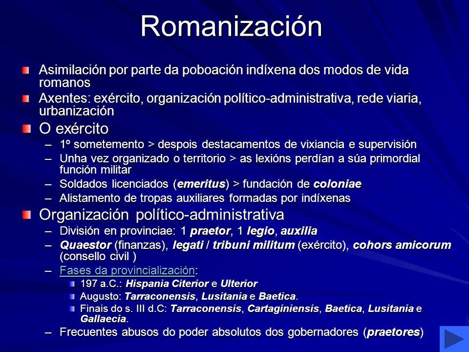 Romanización Asimilación por parte da poboación indíxena dos modos de vida romanos Axentes: exército, organización político-administrativa, rede viari