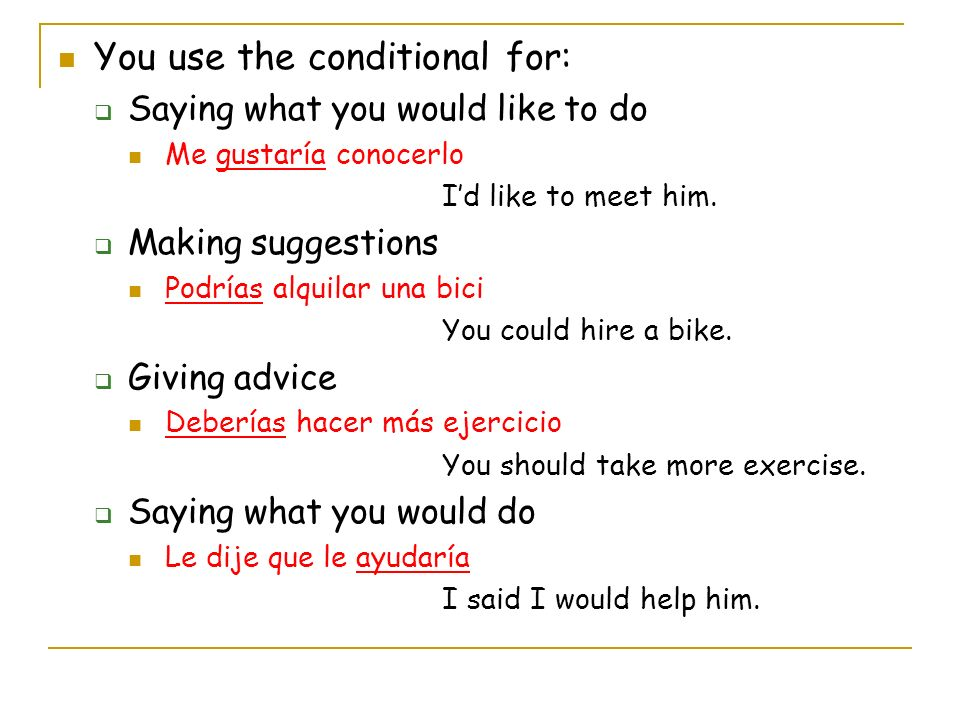 You use the conditional for: Saying what you would like to do Me gustaría conocerlo Id like to meet him.