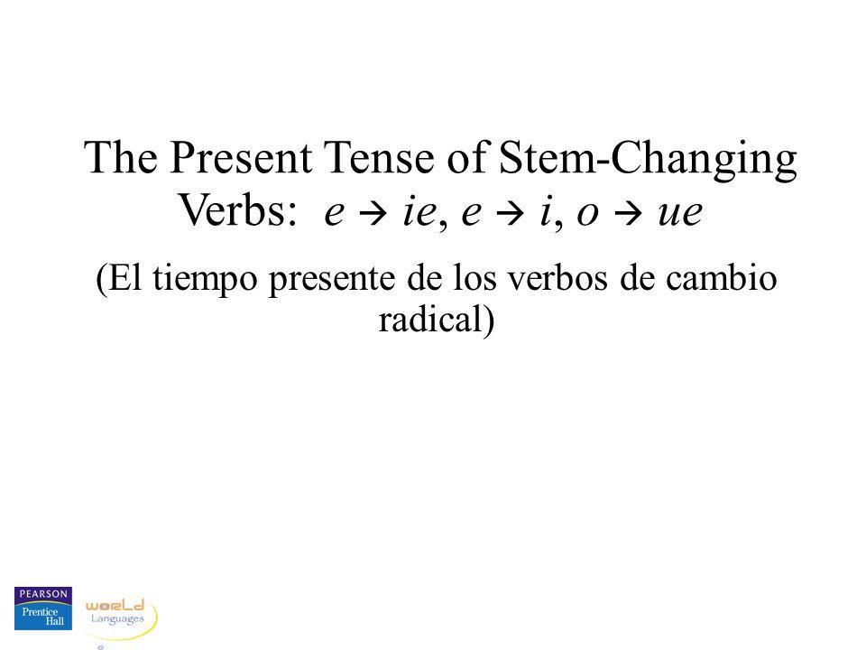 The Present Tense of Stem-Changing Verbs: e ie, e i, o ue (El tiempo presente de los verbos de cambio radical)