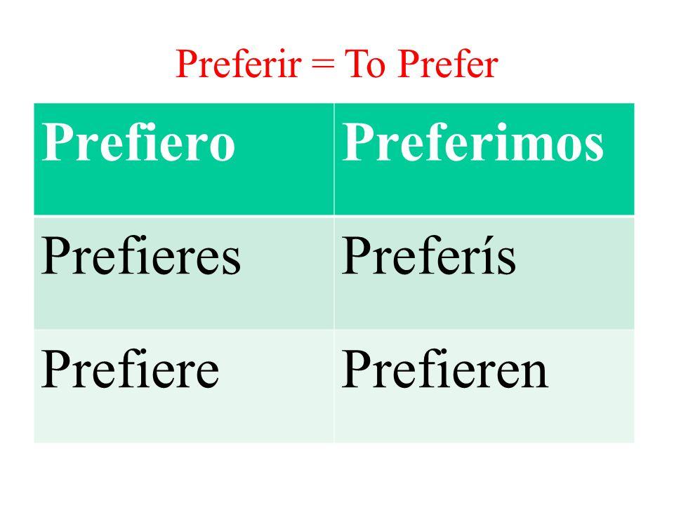 PrefieroPreferimos PrefieresPreferís PrefierePrefieren Preferir = To Prefer