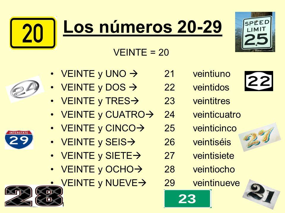 Los números 20-29 VEINTE y UNO 21veintiuno VEINTE y DOS 22veintidos VEINTE y TRES 23veintitres VEINTE y CUATRO 24veinticuatro VEINTE y CINCO 25veintic