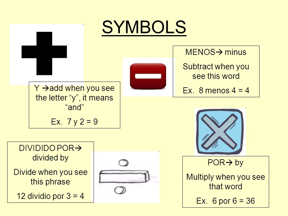 SYMBOLS Y add when you see the letter y, it means and Ex.