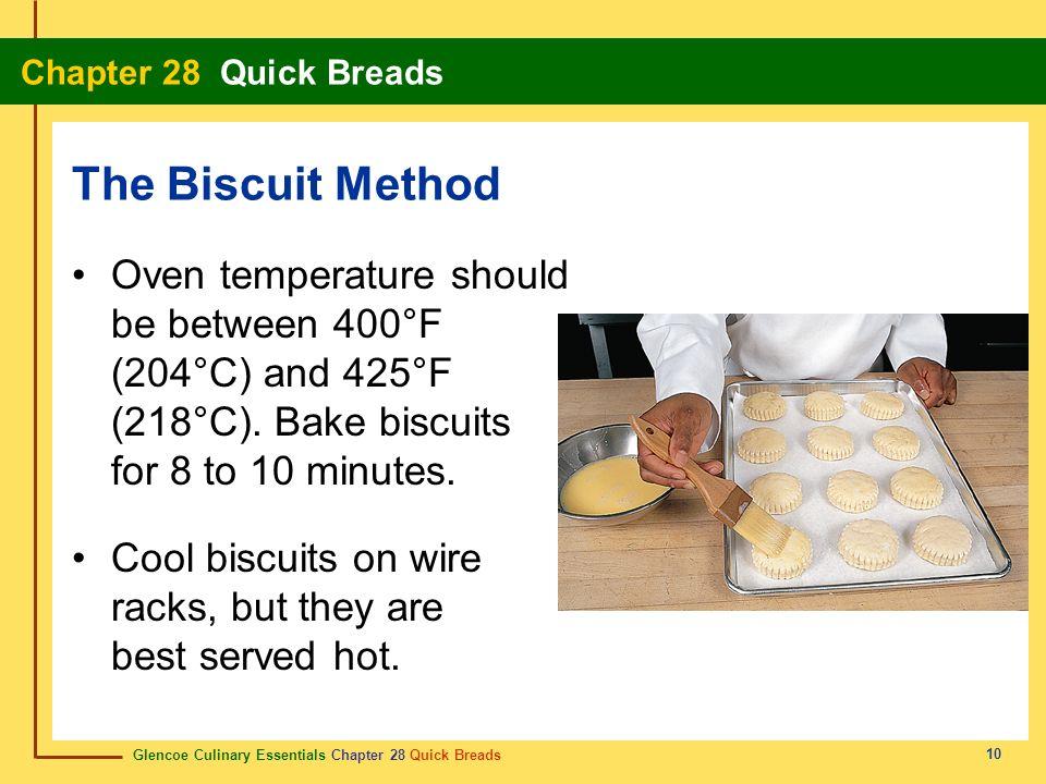 Glencoe Culinary Essentials Chapter 28 Quick Breads Chapter 28 Quick Breads 10 Oven temperature should be between 400°F (204°C) and 425°F (218°C). Bak