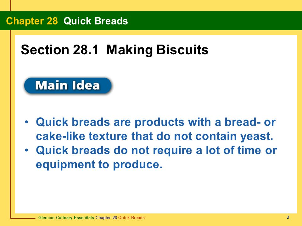 Glencoe Culinary Essentials Chapter 28 Quick Breads Chapter 28 Quick Breads 23 Review Start Do you remember the vocabulary terms from this chapter.