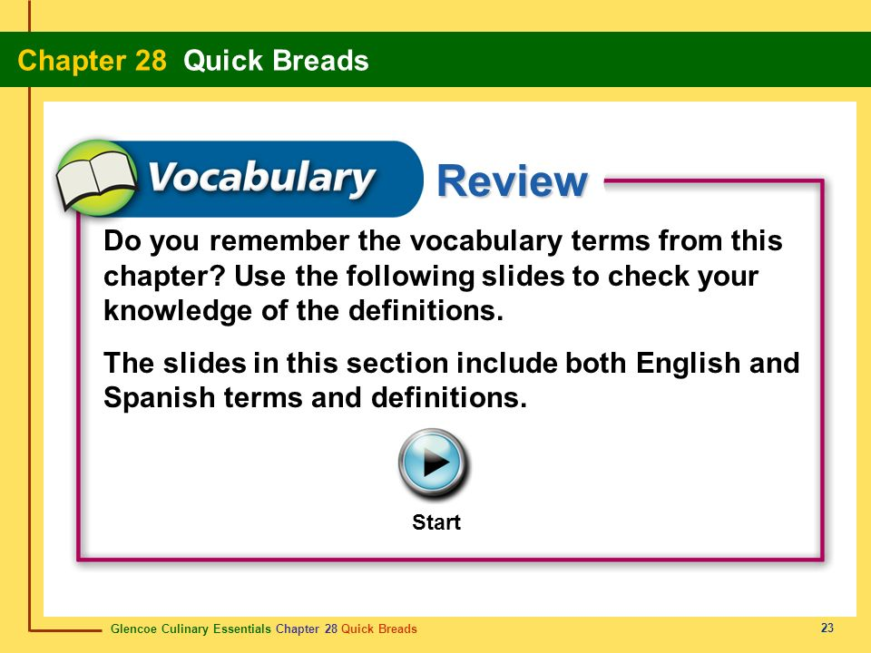 Glencoe Culinary Essentials Chapter 28 Quick Breads Chapter 28 Quick Breads 23 Review Start Do you remember the vocabulary terms from this chapter? Us