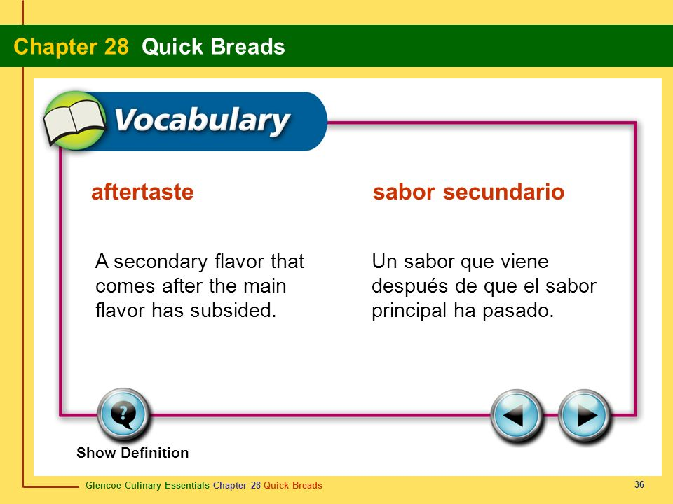 Glencoe Culinary Essentials Chapter 28 Quick Breads Chapter 28 Quick Breads 36 Show Definition A secondary flavor that comes after the main flavor has