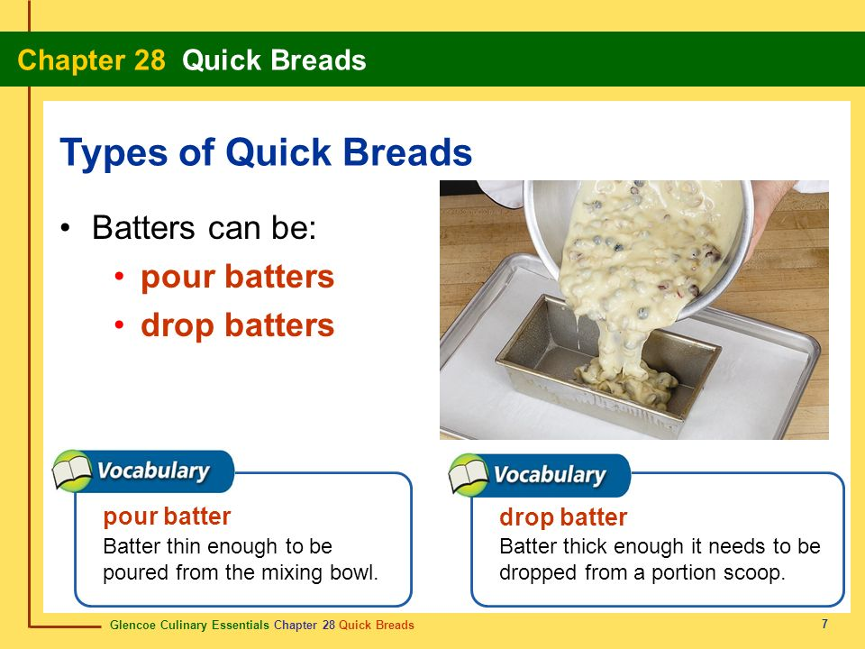 Glencoe Culinary Essentials Chapter 28 Quick Breads Chapter 28 Quick Breads 28 Show Definition Batter thick enough it needs to be dropped from a portion scoop.