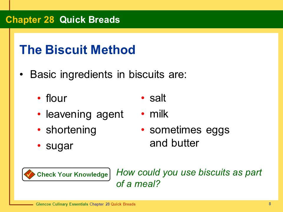 Glencoe Culinary Essentials Chapter 28 Quick Breads Chapter 28 Quick Breads 8 Basic ingredients in biscuits are: flour leavening agent shortening suga
