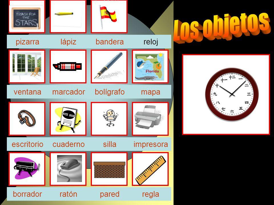 reloj sillaescritorio borrador ventanabolígrafo bandera impresora ratón pizarra cuaderno reglapared marcadormapa lápiz