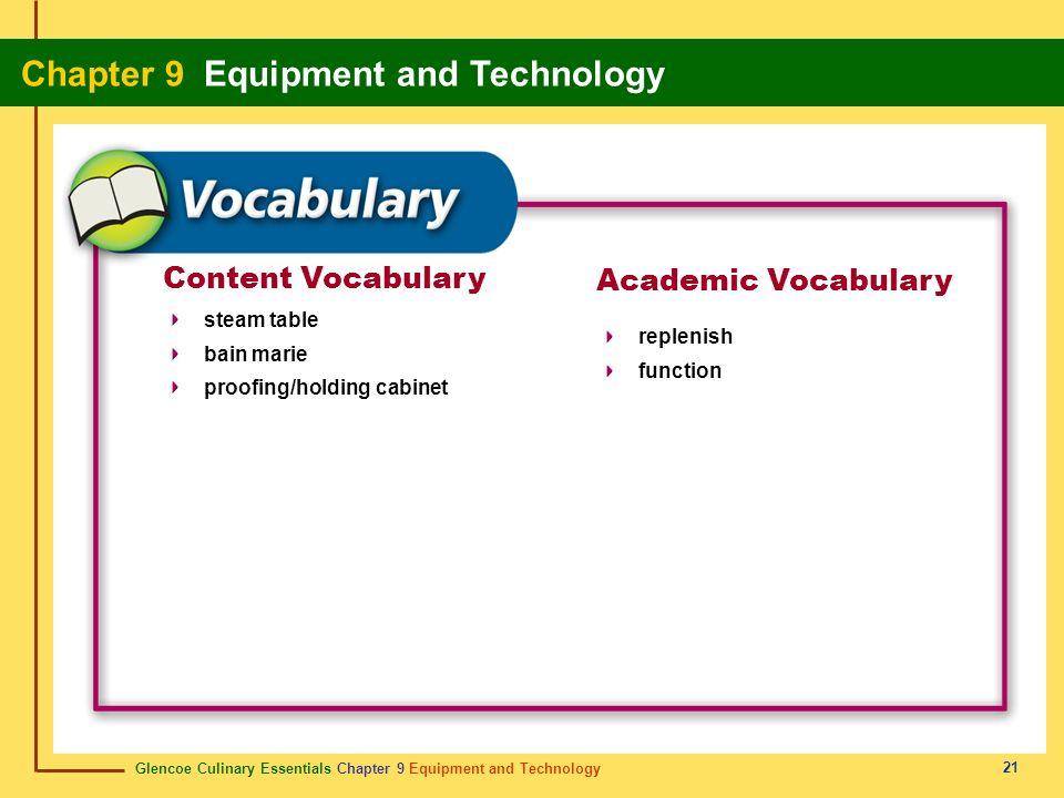 Glencoe Culinary Essentials Chapter 9 Equipment and Technology Chapter 9 Equipment and Technology 21 Content Vocabulary Academic Vocabulary steam tabl