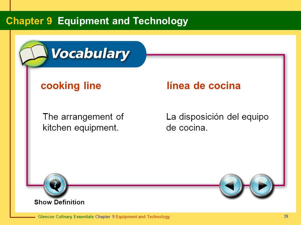 Glencoe Culinary Essentials Chapter 9 Equipment and Technology Chapter 9 Equipment and Technology 39 Show Definition The arrangement of kitchen equipm