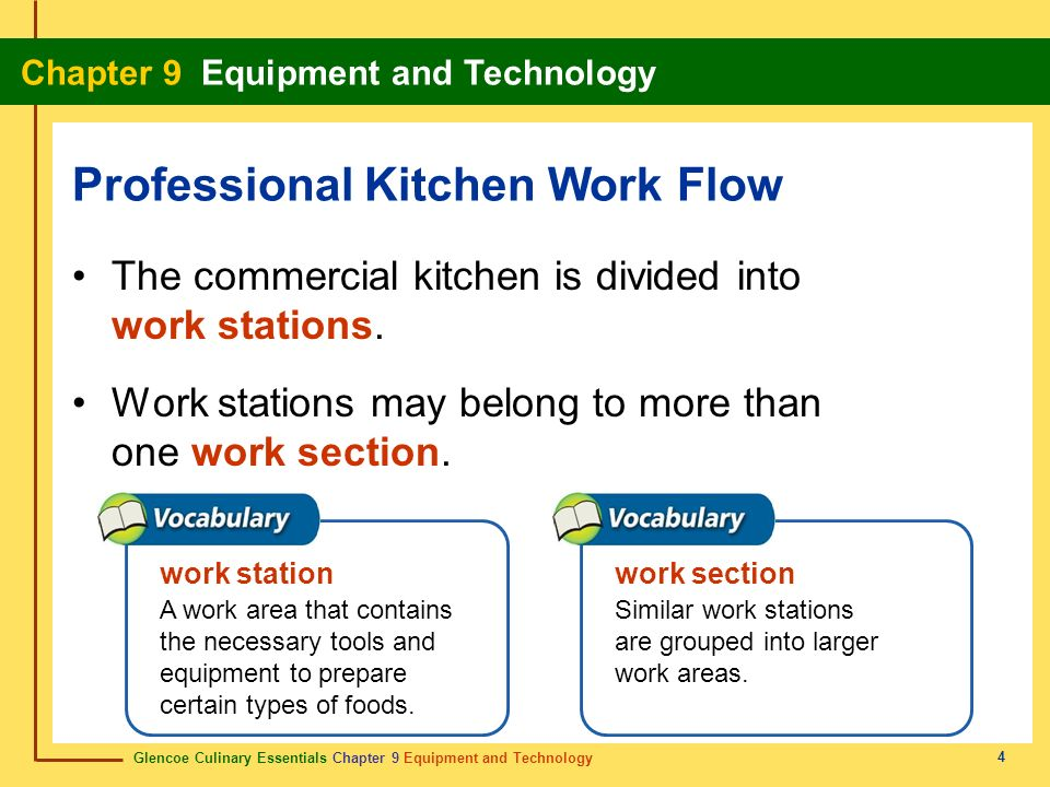 Glencoe Culinary Essentials Chapter 9 Equipment and Technology Chapter 9 Equipment and Technology 4 The commercial kitchen is divided into work statio