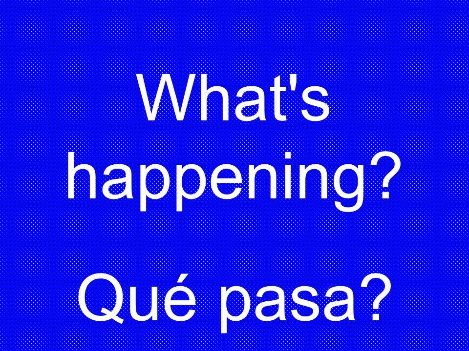 What's happening? Qué pasa?